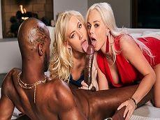 Ivy Wolfe y Elsa Jean, en un trío porno con un negro.. - Interracial